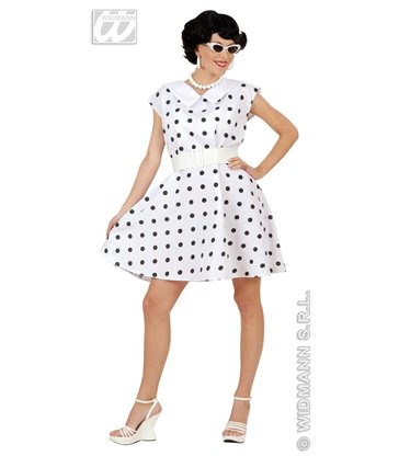 50s LADY DRESS & BELT - WHITE