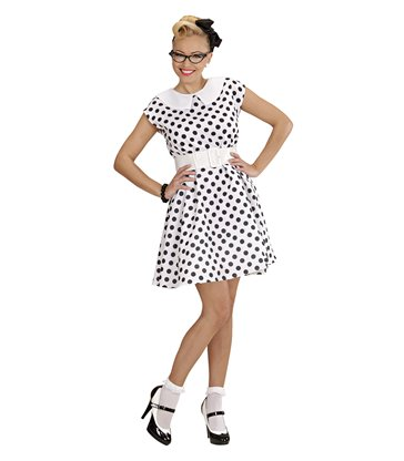 50s LADY - WHITE (dress w/petticoat belt)