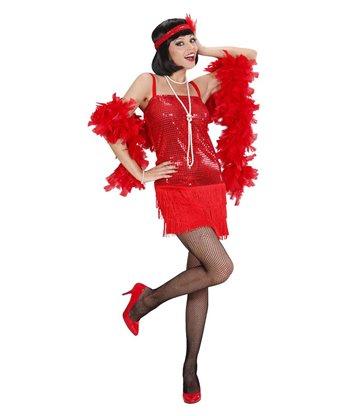 RED FLAPPER (dress headband w/ feather)