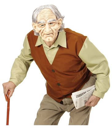 OLD MAN (shirt with vest mask with wig & eyebrows)