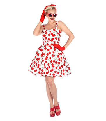 THE 50s FASHION - WHITE-CHERRIES(dress w/ petticoat)