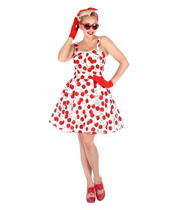 THE 50s FASHION - WHITE-CHERRIES(dress w/ petticoat)