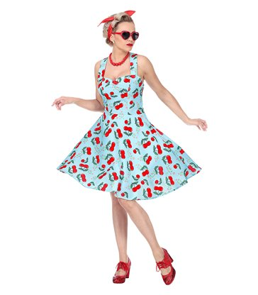 THE 50s FASHION - BLUE-CHERRIES (dress w/ petticoat)