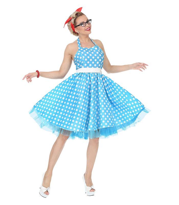 THE 50s FASHION - BLUE - SPOTS(dress w/ petticoat belt)
