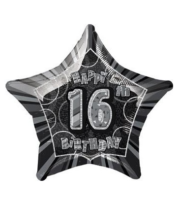 20'' PKG BLACK STAR PRISM 16 FOIL BALLOON