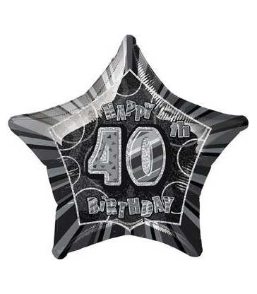 20'' PKG BLACK STAR PRISM 40 FOIL BALLOON