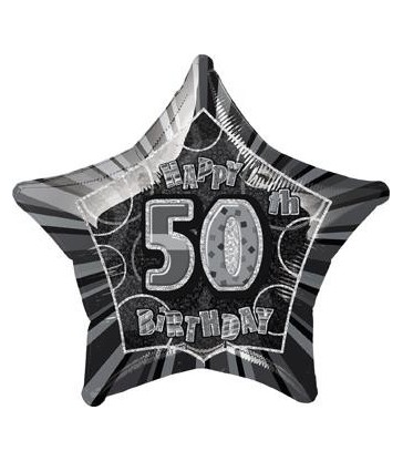 20'' PKG BLACK STAR PRISM 50 FOIL BALLOON