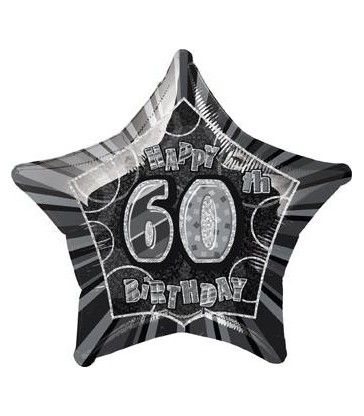 20'' PKG BLACK STAR PRISM 60 FOIL BALLOON