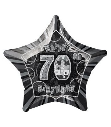 20'' PKG BLACK STAR PRISM 70 FOIL BALLOON