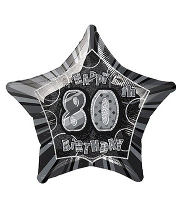 20'' PKG BLACK STAR PRISM 80 FOIL BALLOON