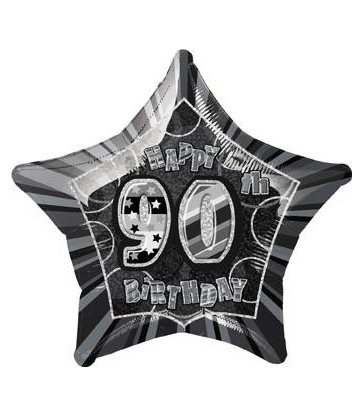 "20"" PKG BLACK STAR PRISM 90 FOIL BALLOON"