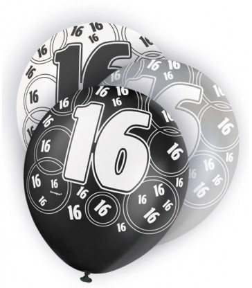 6 12'' BLACK GLITZ BALLOONS -16