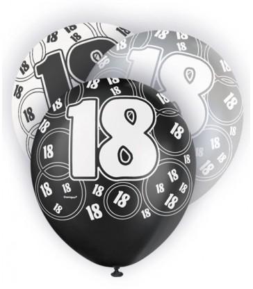 6 12'' BLACK GLITZ BALLOONS -18