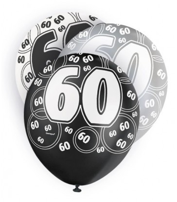 6 12'' BLACK GLITZ BALLOONS -60