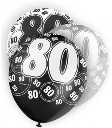 6 12'' BLACK GLITZ BALLOONS -80