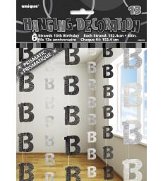 6 GLITZ BLACK/SILVER 13 HANGING DECOR
