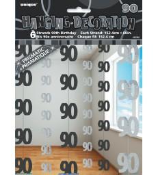 6 GLITZ BLACK 90 HANGING DECORS