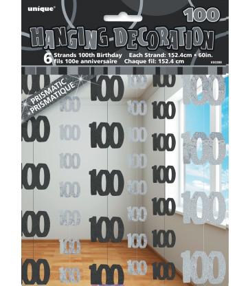 6 GLITZ BLACK 100 HANGING DECORS