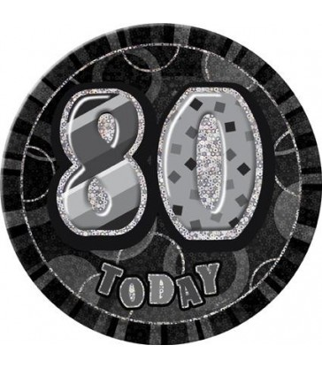 "BLACK/SILVER GLITZ 6"" BADGE - 80"