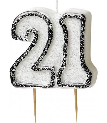 GLITZ BLACK NUMERAL 21 CANDLE
