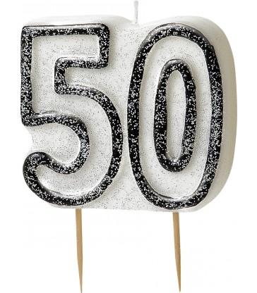 GLITZ BLACK NUMERAL 50 CANDLE