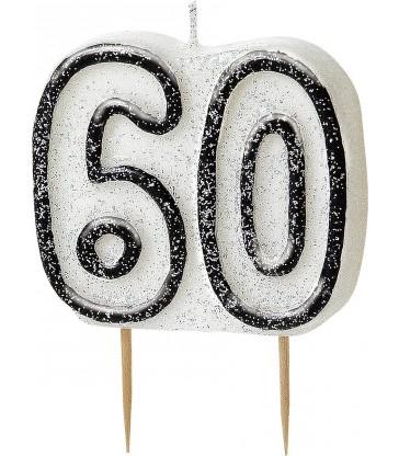 GLITZ BLACK NUMERAL 60 CANDLE