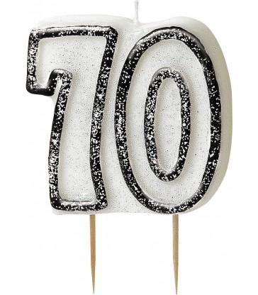 GLITZ BLACK NUMERAL 70 CANDLE