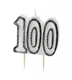 GLITZ BLACK NUMERAL 100 CANDLE