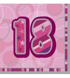16 PINK GLITZ LUNCH NAPKINS-18
