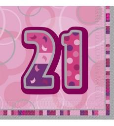 16 PINK GLITZ LUNCH NAPKINS-21