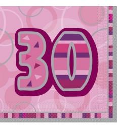 16 PINK GLITZ LUNCH NAPKINS-30