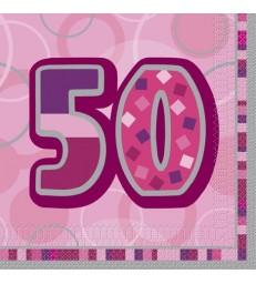 16 PINK GLITZ LUNCH NAPKINS-50