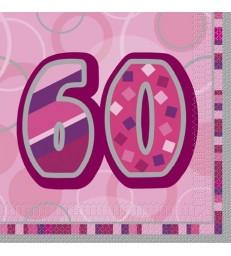 16 PINK GLITZ LUNCH NAPKINS-60