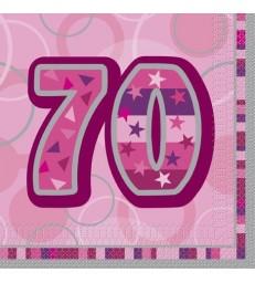 16 PINK GLITZ LUNCH NAPKINS-70