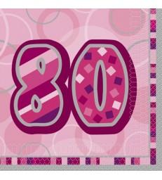 16 PINK GLITZ LUNCH NAPKINS-80