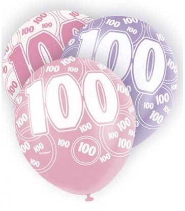 6 12'' PINK GLITZ BALLOONS-100