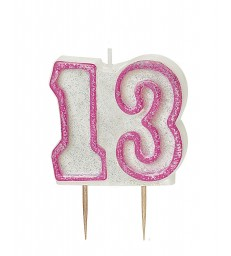 GLITZ PINK NUMERAL 13 CANDLE