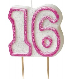 GLITZ PINK NUMERAL 16 CANDLE