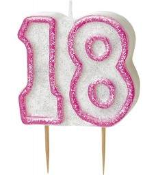 GLITZ PINK NUMERAL 18 CANDLE