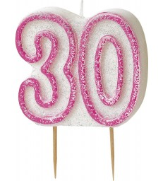 GLITZ PINK NUMERAL 30 CANDLE
