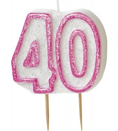 GLITZ PINK NUMERAL 40 CANDLE
