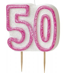 GLITZ PINK NUMERAL 50 CANDLE