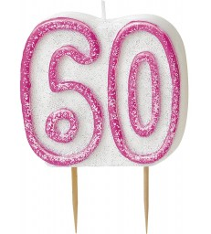 GLITZ PINK NUMERAL 60 CANDLE