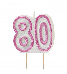 GLITZ PINK NUMERAL 80 CANDLE