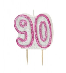 GLITZ PINK NUMERAL 90 CANDLE