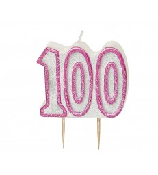 GLITZ PINK NUMERAL 100 CANDLE