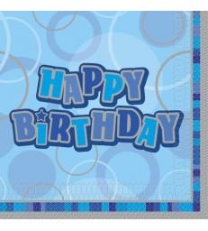 16 BLUE HBIRTHDAY GLITZ LUNCH NAPKINS