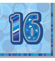 16 BLUE GLITZ LUNCH NAPKINS -16