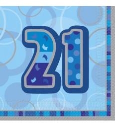16 BLUE GLITZ LUNCH NAPKINS -21