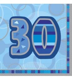 16 BLUE GLITZ LUNCH NAPKINS -30